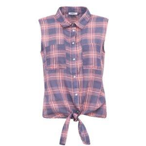 Růžovo-šedá kostkovaná košile bez rukávů ONLY Rose d05c636bbac
