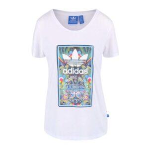 Bílé dámské tričko s barevným potiskem adidas Originals Bird Tongue 4ee75ab3bfb