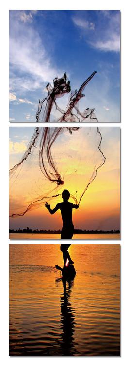 Posters Obraz Rybaření za svítání