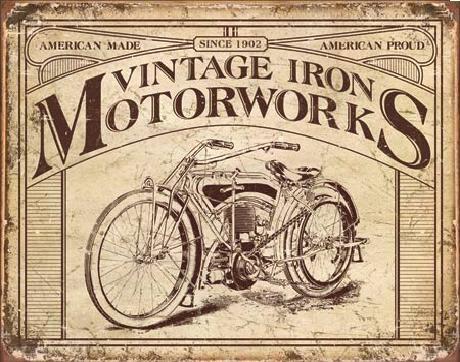 Posters Plechová cedule VINTAGE IRON MOTORWORKS