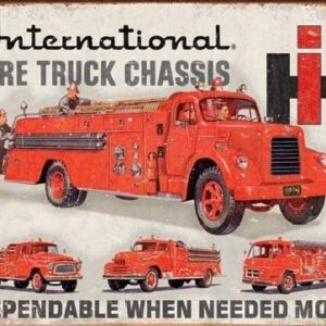 Posters Plechová cedule INTERNATIONAL FIRE TRUCK CHASS