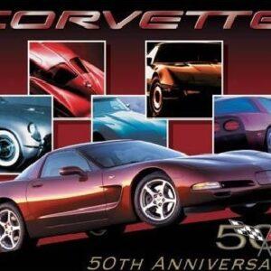 Posters Plechová cedule CORVETTE - 50th car