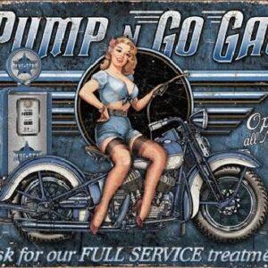 Posters Plechová cedule PUMP N GO GAS