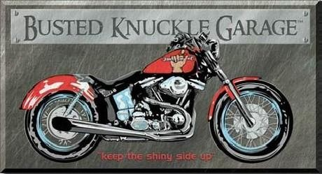 Posters Plechová cedule BUSTED KNUCKLE GARAGE BIKE - keep the shiny side up
