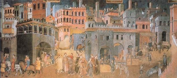Posters Reprodukce Ambrogio Lorenzetti - Následky dobré vlády ve městě a na venkově