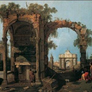 Posters Reprodukce Canaletto - Capriccio s klasickými ruinami a stavbami