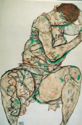 Posters Reprodukce Egon Schiele - Sedící žena s levou rukou ve vlasech
