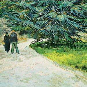 Posters Reprodukce Vincent van Gogh - Pár ve veřejné zahradě s modrou jedlí