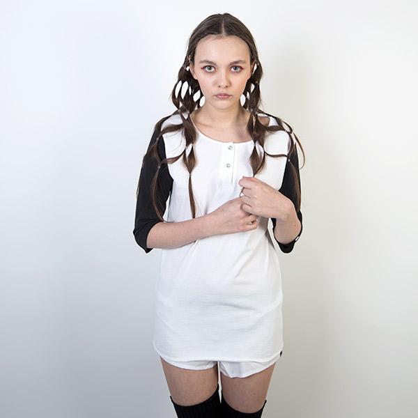 Tričko Triko Marshal Apparel Henllie Mid Sleeve White / Black - Marshal Apparel