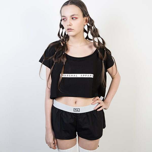 Tričko Top Marshal Apparel Girlie Crop Tee Black - Marshal Apparel