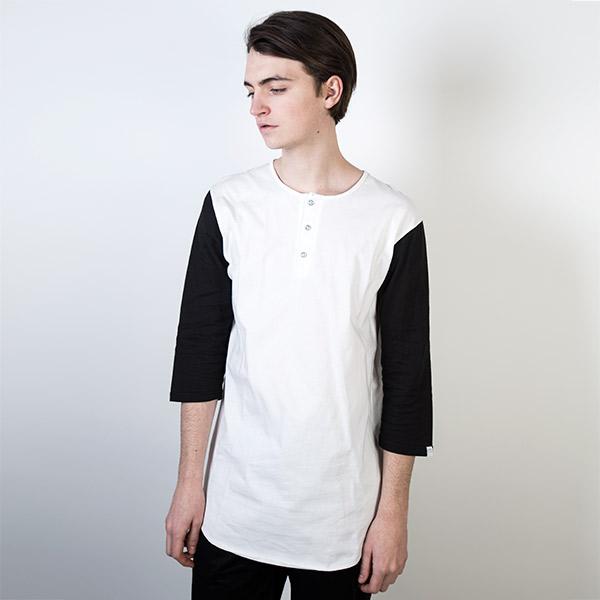 Tričko Triko Marshal Apparel Henley Mid Sleeve Black / White - Marshal Apparel