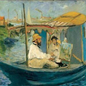 Posters Reprodukce Manet E. - Claude Monet ve svém ateliéru