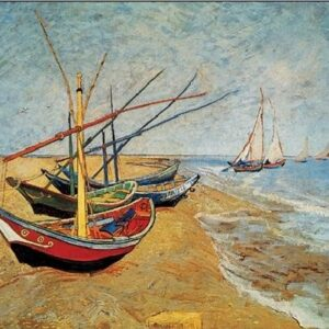 Posters Reprodukce Vincent van Gogh - Rybářské lodě na pláži v Saintes-Maries-de-la-Mer