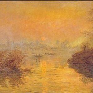 Posters Reprodukce Claude Monet - Západ slunce nad Seinou v Lavacourt