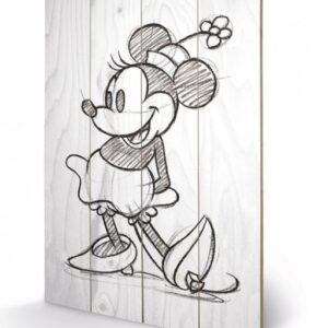 Posters Obraz na dřevě - Minnie Mouse - Sketched - Single
