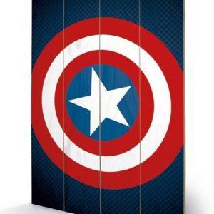 Posters Obraz na dřevě - Avengers Assemble - Captain America Shield