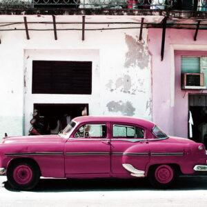 Posters Skleněný Obraz Auta - Růžový Cadillac