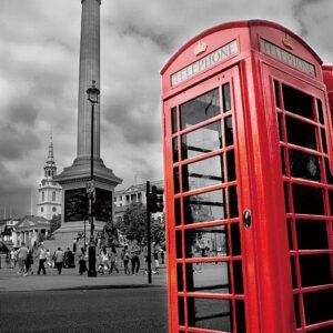 Posters Skleněný Obraz Londýn - Červená telefonní budka