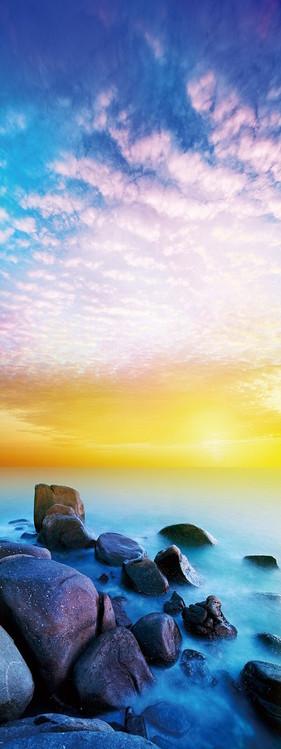 Posters Skleněný Obraz Kameny na pláži při západu slunce