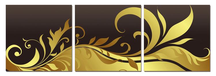 Posters Obraz Moderní design - černo-zlatý ornament
