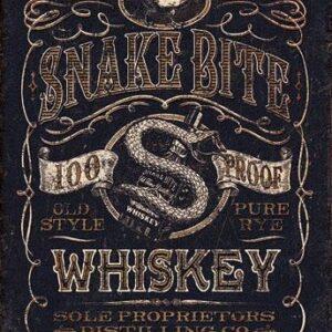 Posters Plechová cedule Snake Bite Whiskey