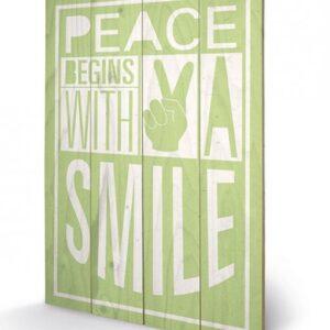 Posters Obraz na dřevě - Sarah Winter - Peace Begins With A Smile