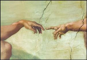 Posters Reprodukce Michelangelo Buonarroti - Zrození Adama (část)