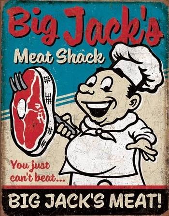 Posters Plechová cedule Big Jack's Meats