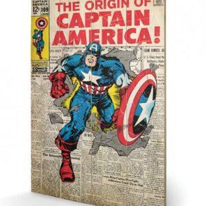 Posters Obraz na dřevě - Captain America - Origin
