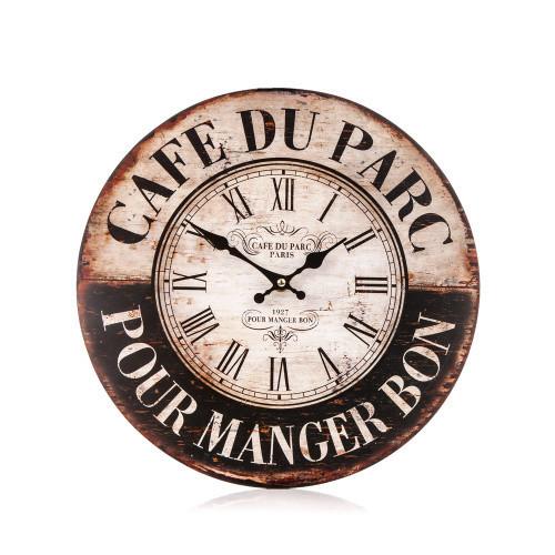 Posters Hodiny dřevěné - Cafe du parc