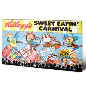 Posters Obraz na dřevě - Vintage Kelloggs - Sweet Eatin' Carnival Land