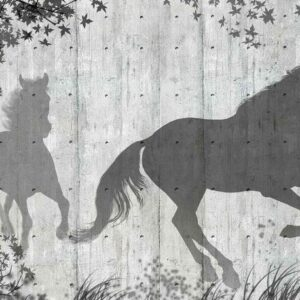 Posters Fototapeta Horses Tree Leaves Wall 254x184 cm - 115g/m2 Paper - Posters