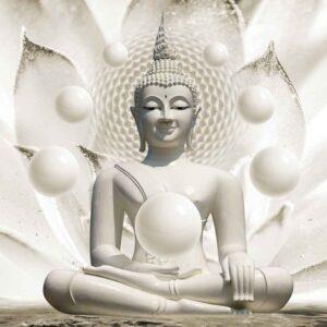 Posters Fototapeta Buddha Zen Spheres Flower 3D 254x184 cm - 115g/m2 Paper - Posters