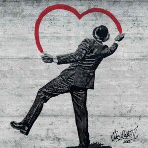 Posters Fototapeta Banksy Graffiti Concrete Wall 368x254 cm - 115g/m2 Paper - Posters
