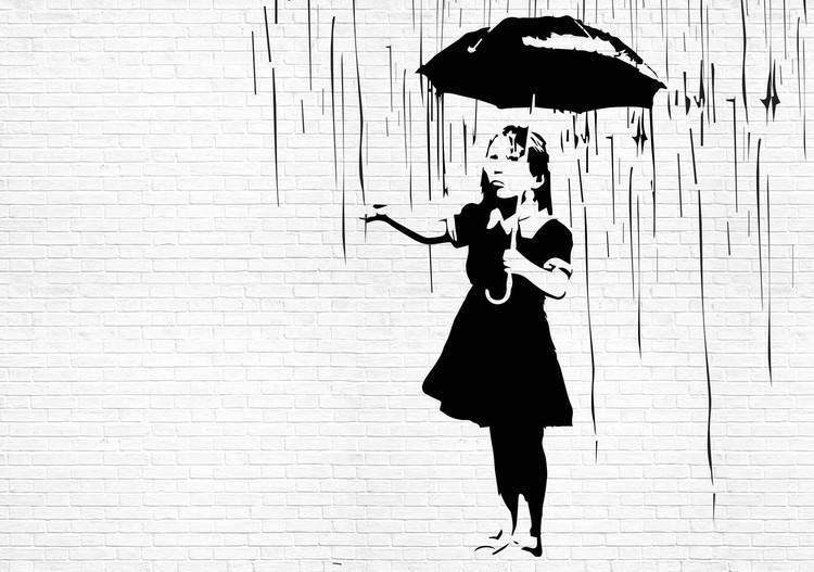 Posters Fototapeta Banksy Graffiti Brick Wall 254x184 cm - 115g/m2 Paper - Posters