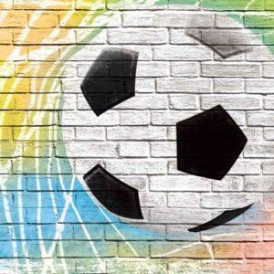 Posters Fototapeta Football Wall Bricks 254x184 cm - 115g/m2 Paper - Posters