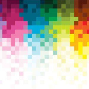 Posters Fototapeta Rainbow Pattern Pixel 416x254 cm - 130g/m2 Vlies Non-Woven - Posters