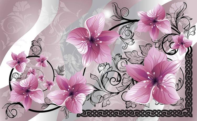 Posters Fototapeta Flowers Floral Pattern 208x146 cm - 130g/m2 Vlies Non-Woven - Posters