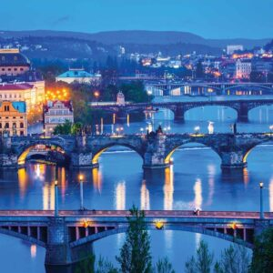Posters Fototapeta City Prague River Bridges 254x184 cm - 115g/m2 Paper - Posters