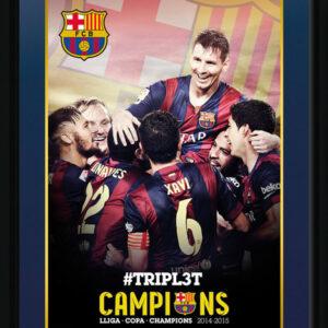 Posters Barcelona - Triple Champions 15 rám s plexisklem - Posters