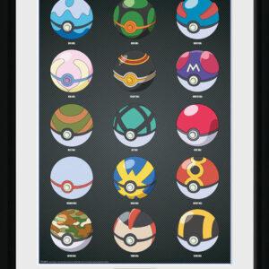 Posters Pokemon - Pokeballs rám s plexisklem - Posters