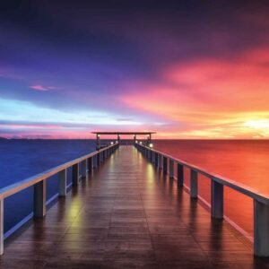 Posters Fototapeta Path Bridge Sun Sunset Multicolour 368x254 cm - 115g/m2 Paper - Posters