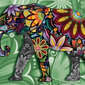 Posters Fototapeta Elephant Flowers Abstract Colours 254x184 cm - 115g/m2 Paper - Posters