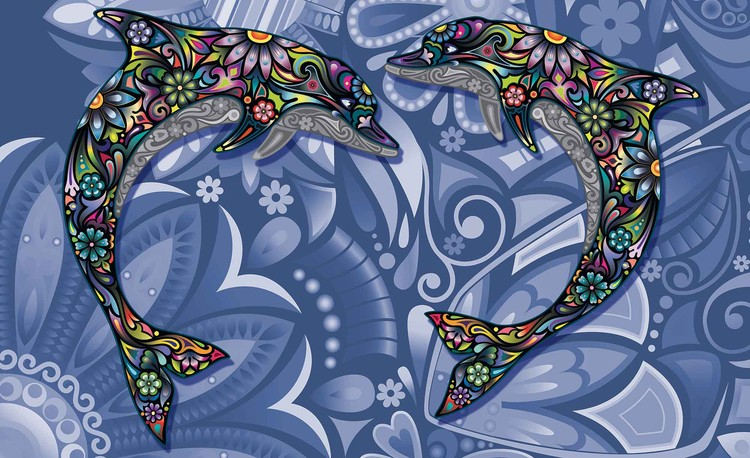 Posters Fototapeta Dolphins Flowers Abstract Colours 254x184 cm - 115g/m2 Paper - Posters