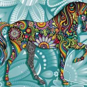 Posters Fototapeta Horse Flowers Abstract Colours 254x184 cm - 115g/m2 Paper - Posters