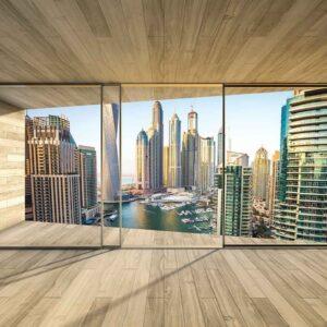 Posters Fototapeta Window Dubai City Skyline Marina 254x184 cm - 115g/m2 Paper - Posters
