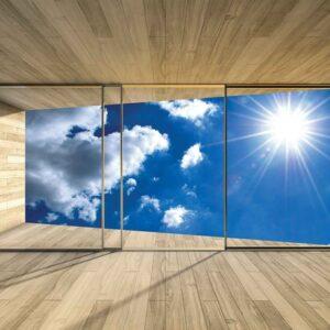 Posters Fototapeta Window Sky Clouds Sun Nature 254x184 cm - 115g/m2 Paper - Posters