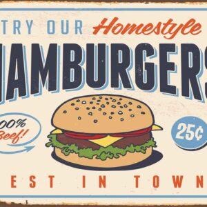 Posters Fototapeta Retro Poster Hamburgers 254x184 cm - 115g/m2 Paper - Posters