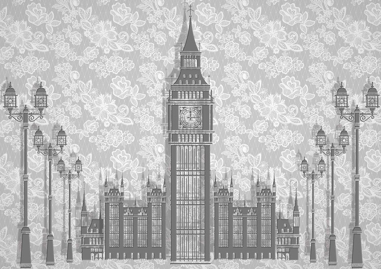 Posters Fototapeta Abstract Floral London Design 254x184 cm - 115g/m2 Paper - Posters