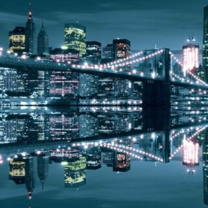 Posters Fototapeta New York City Skyline Brooklyn Bridge 254x184 cm - 115g/m2 Paper - Posters